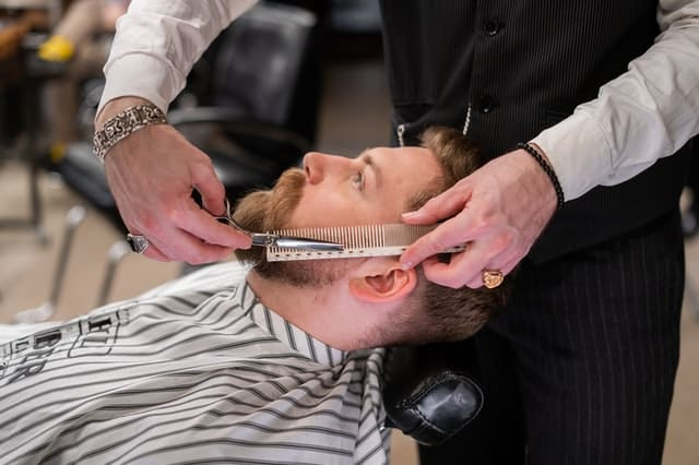 when shaving a male patient's face it is important to?